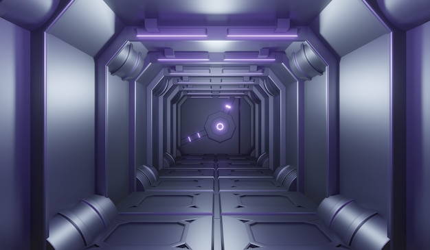 Tunnel de technonogie futuriste de science-fiction avec fond violet néon.