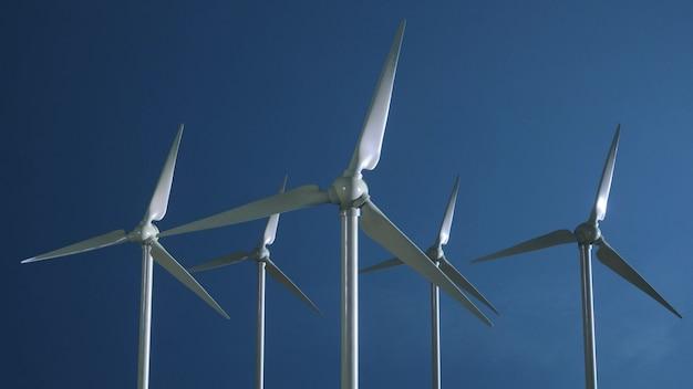 Turbine éolienne de centrale d'énergie éolienne de générateur d'éolienne. production d'énergie électrique renouvelable par énergie éolienne. rendu 3d.