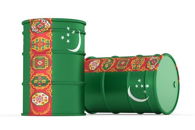 Turkménistan barils de drapeau de style pétrolier isolés