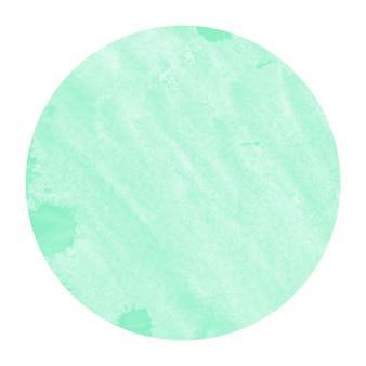 Turquoise main dessinée texture d'arrière-plan aquarelle cadre circulaire avec des taches