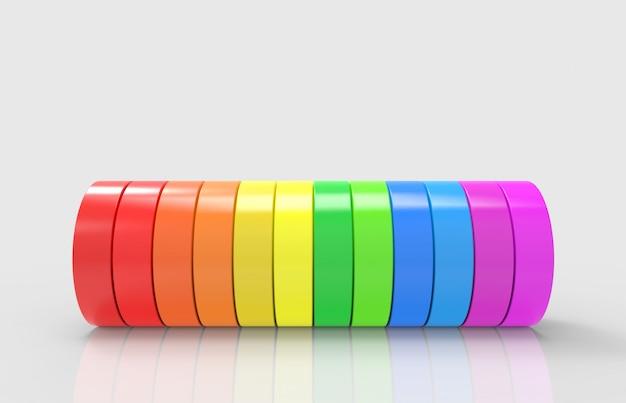 Tuyau de cylindre lgbt coloré arc-en-ciel sur fond gris