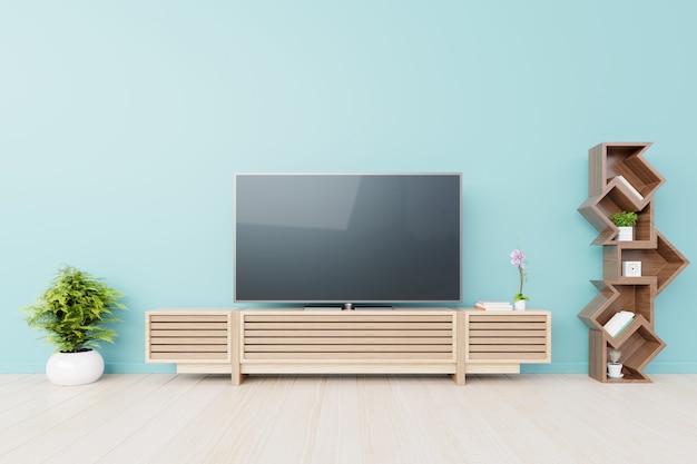 Tv dans le mur bleu de la salle vide moderne. rendu 3d