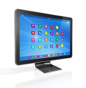 Tv hd, ordinateur, interface des icônes d'applications