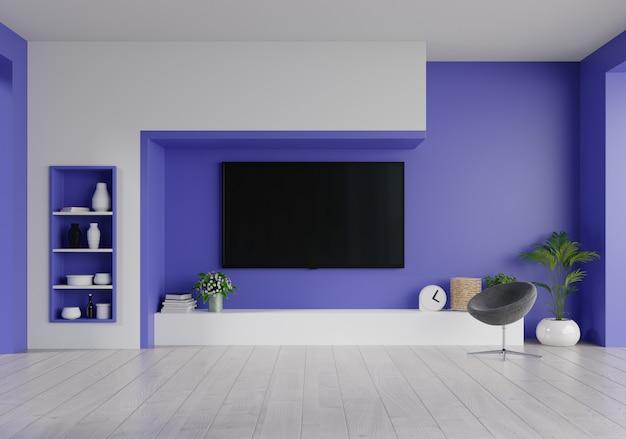 Tv led sur le mur bleu fantôme dans le salon, design minimal.
