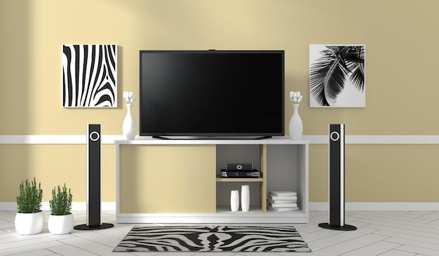 Tv sur le meuble dans le salon moderne sur fond de mur jaune, rendu 3d