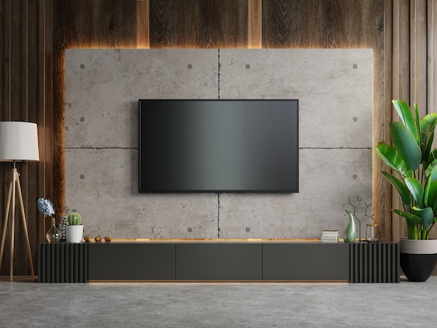 Tv sur le meuble dans le salon moderne sur mur de béton, rendu 3d