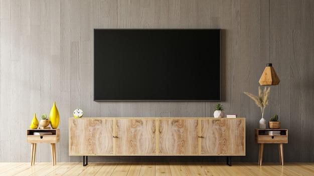 Tv sur meuble dans un salon moderne avec mur en bois, rendu 3d