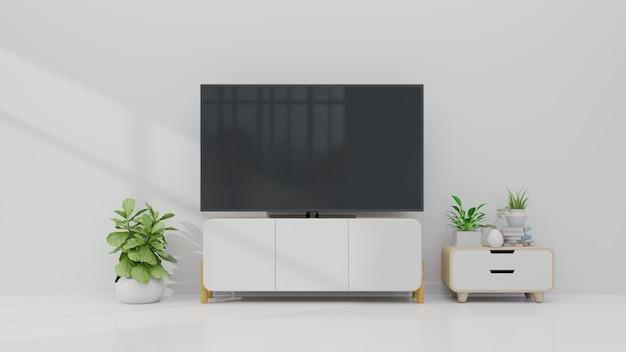 Tv sur le meuble dans le salon moderne avec plante sur fond de mur blanc, rendu 3d