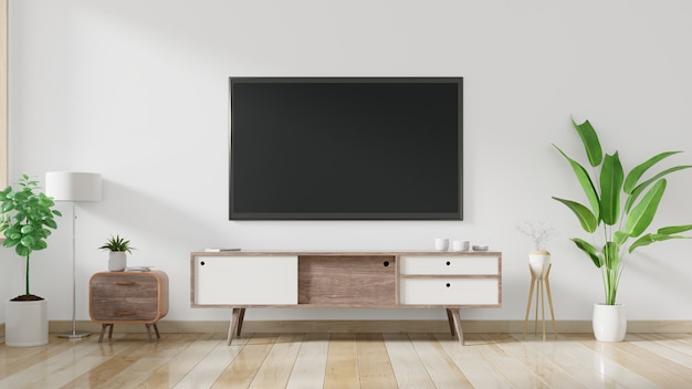 Tv sur le meuble dans le salon moderne avec plante sur fond de mur blanc.
