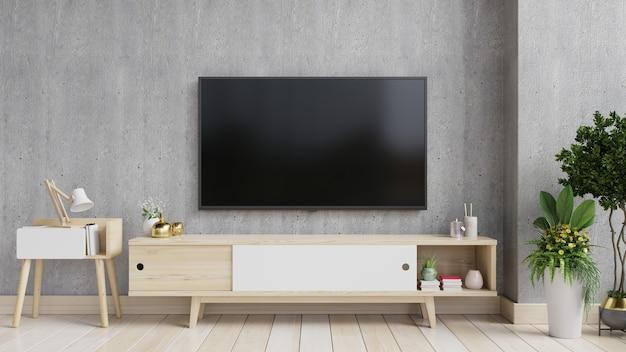 Tv sur le meuble dans un salon moderne avec plante sur mur de ciment, rendu 3d