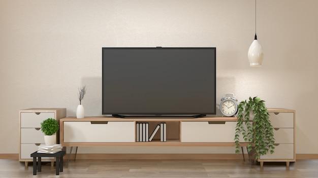 Tv sur le meuble dans le salon zen avec lampe, table, meuble et installation .rendu 3d