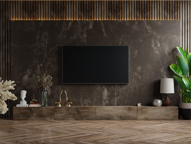 Tv et meuble sur pièce sombre avec plante sur mur de marbre foncé, rendu 3d