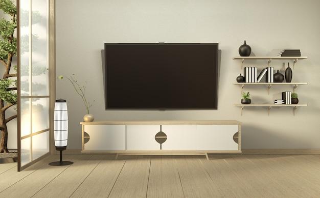 Tv sur mur et armoire en bois dans une salle vide moderne