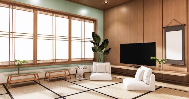 Tv sur le mur dans la chambre à la menthe de style tropical moderne