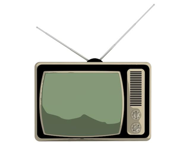 Tv vintage de dessin animé classique isolé sur fond blanc