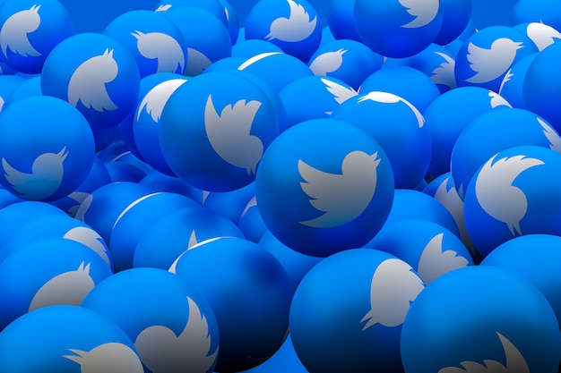 Twitter médias sociaux emoji fond de rendu 3d, symbole de ballon de médias sociaux