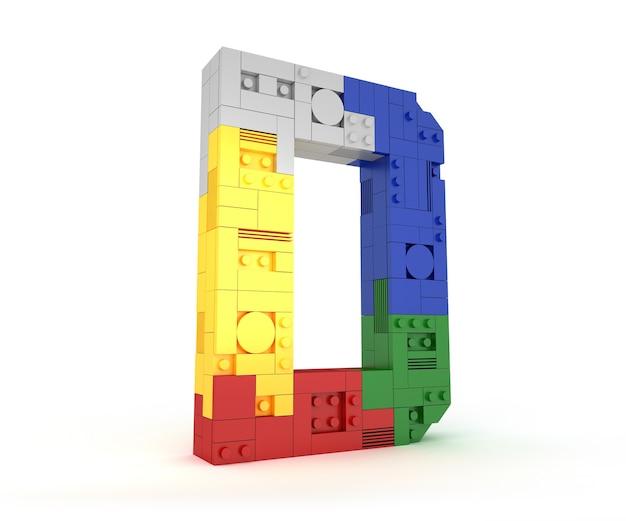 Type de brique de bloc coloré alphabet police de perspective rendu 3d sur fond blanc