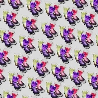 Type différent de jaune; modèle de verres liquides violet et rouge sur fond blanc