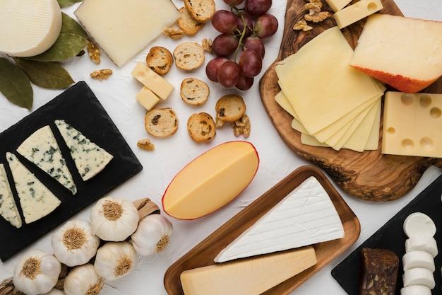 Types de fromage avec des raisins frais et ingrédient sur fond de béton