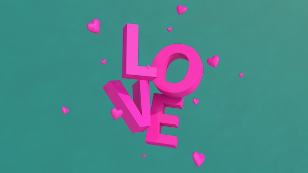 Typographie d'amour rose