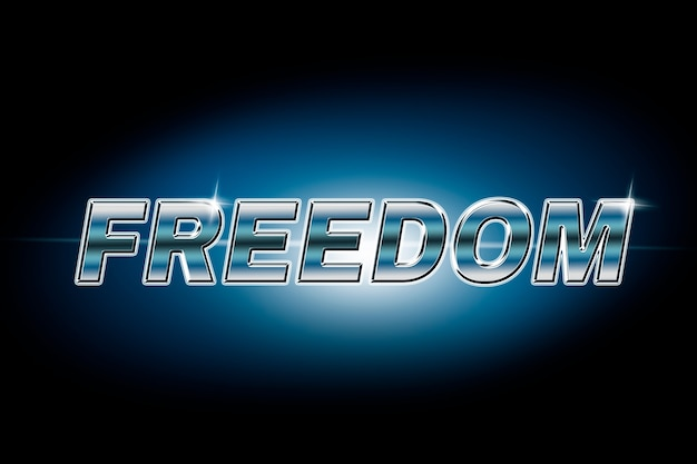 Typographie de la liberté dans la police lens flare