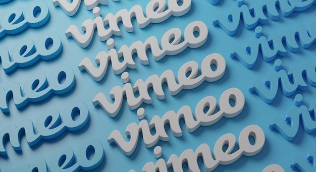 Typographie multiple de vimeo sur mur bleu
