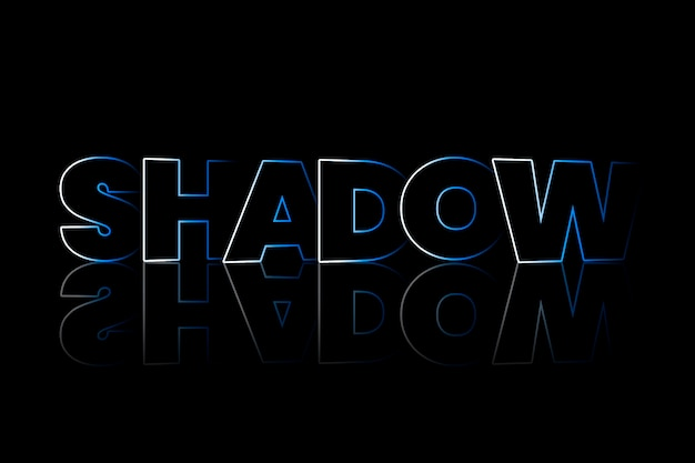Typographie de style ombre ombre sur fond noir