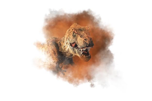Tyrannosaurus t-rex, dinosaure sur fond de fumée