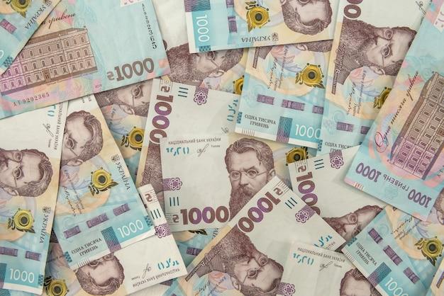 Uah. contexte du nouveau billet de 1000 de l'ukraine. idem et argent cocncept. l'argent ukrainien.