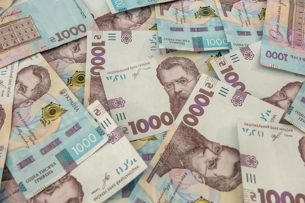 Uah. contexte du nouveau billet de 1000 de l'ukraine. idem et concept d'argent. l'argent ukrainien.