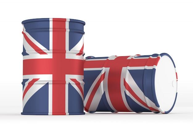 Uk barils de drapeau de style pétrolier isolés