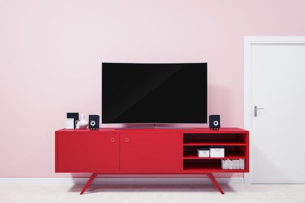 Ultra hd tv courbé sur des supports de télévision rouges et des idées de décoration