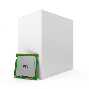 Unité centrale de traitement cpu moderne avec boîte vide isolated on white