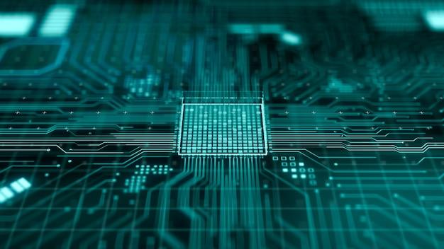 Unité centrale de traitement futuriste abstraite ou microchip à l'intérieur de la carte mère de l'ordinateur, processeur d'informatique quantique moderne de rendu 3d, concept de technologie d'ingénierie matérielle cpu