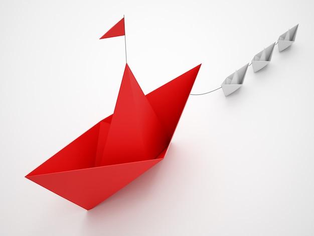 L'unité est la force. des petits bateaux en papier qui remorquent un plus gros navire. concept de travail d'équipe et d'alliance. rendu 3d