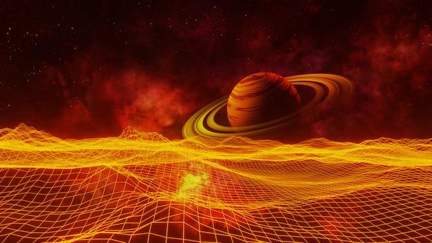 Univers d'espace de fond fantaisie, éclairage volumétrique. rendu 3d