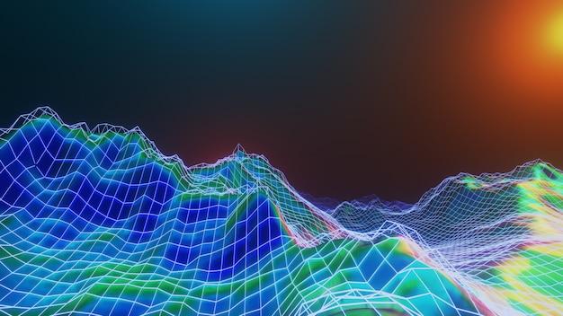 Univers fantastique et espace abstrait, réflexion métallique de feuille holographique, rendu 3d