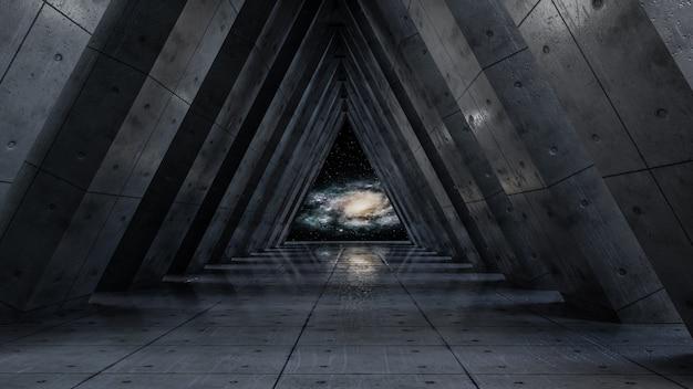 Univers fantastique et fond de couloir spatial, rendu 3d