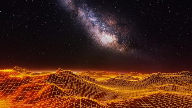 Univers fantastique et fond d'espace, rendu 3d