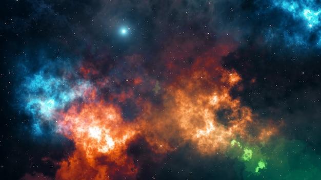 Univers rempli d'étoiles, de nébuleuses et de galaxies 3d illustration