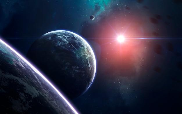Univers rempli d'étoiles, de nébuleuses, de galaxies et de planètes