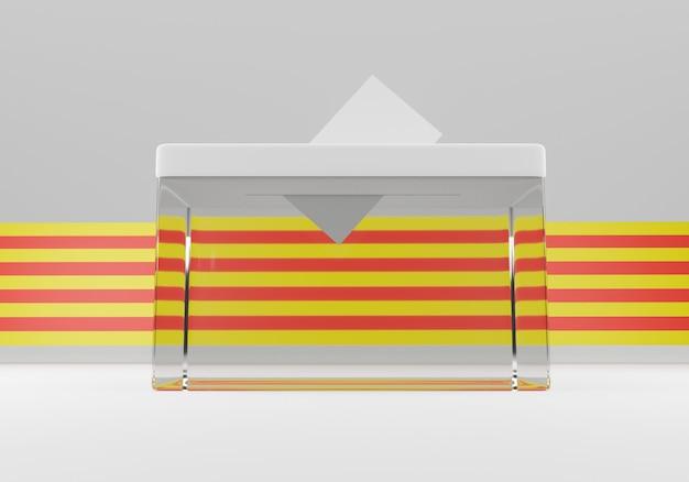 Urne avec une enveloppe de vote dans la fente prête à voter. drapeau de la catalogne