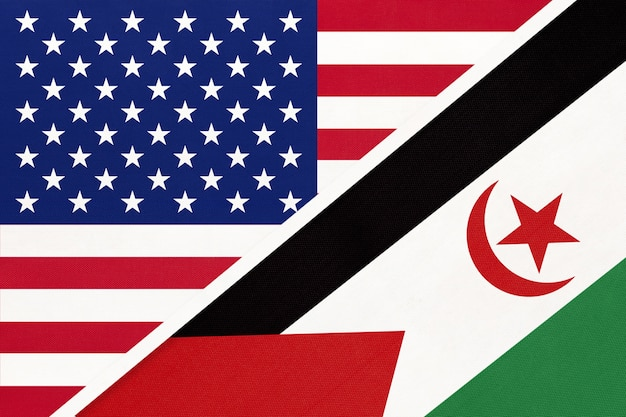 Usa vs drapeau national de la république arabe sahraouie démocratique du textile.