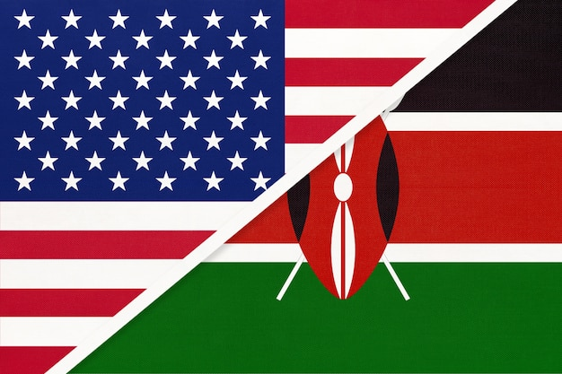 Usa vs république du kenya drapeau national du textile.