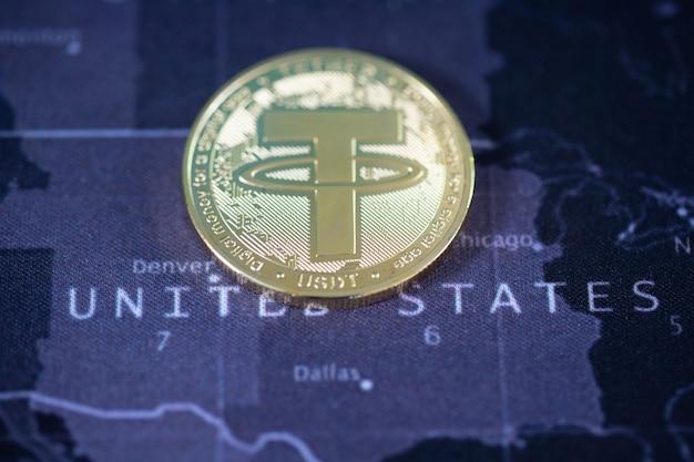 Usdt cryptocurrency bitcoin la future pièce, nouvelle monnaie virtuelle. le taux de croissance de la pièce d'or est la devise importante pour tout payer dans le futur mondial.