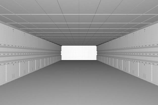 Usine ou entrepôt vide intérieur filaire de rendu 3d