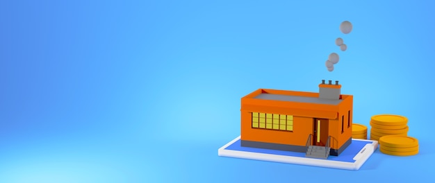 Usine de rendu 3d avec des piles de pièces isolées sur une bannière de fond bleu