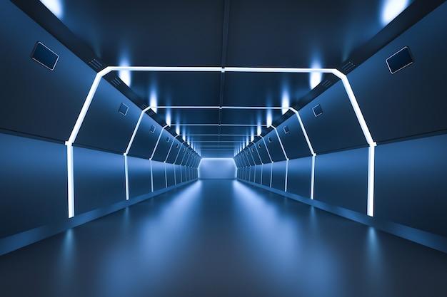Usine ou tunnel futuriste bleu intérieur de rendu 3d
