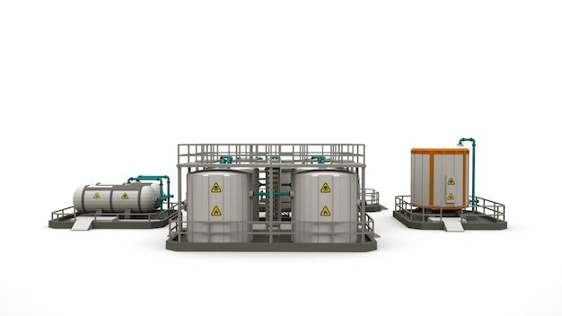 Usine et usine, chaudières et barils, images monochromes, ensemble d'éléments de conception. illustration 3d de zones industrielles isolées.