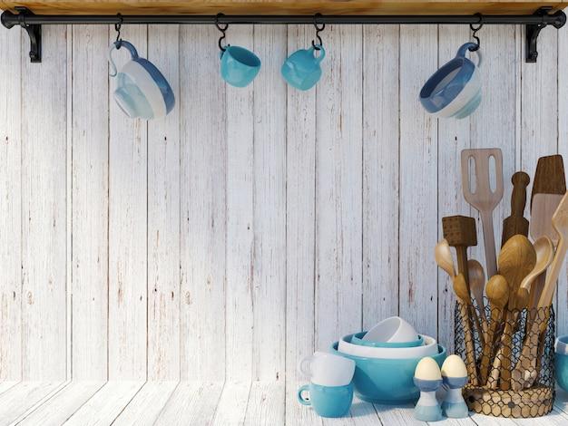 Ustensiles de cuisine sur fond de bois blanc avec espace de copie pour maquette, rendu 3d
